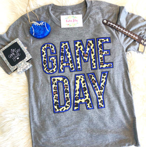 Game day royal blue glitter/leopard T-shirt