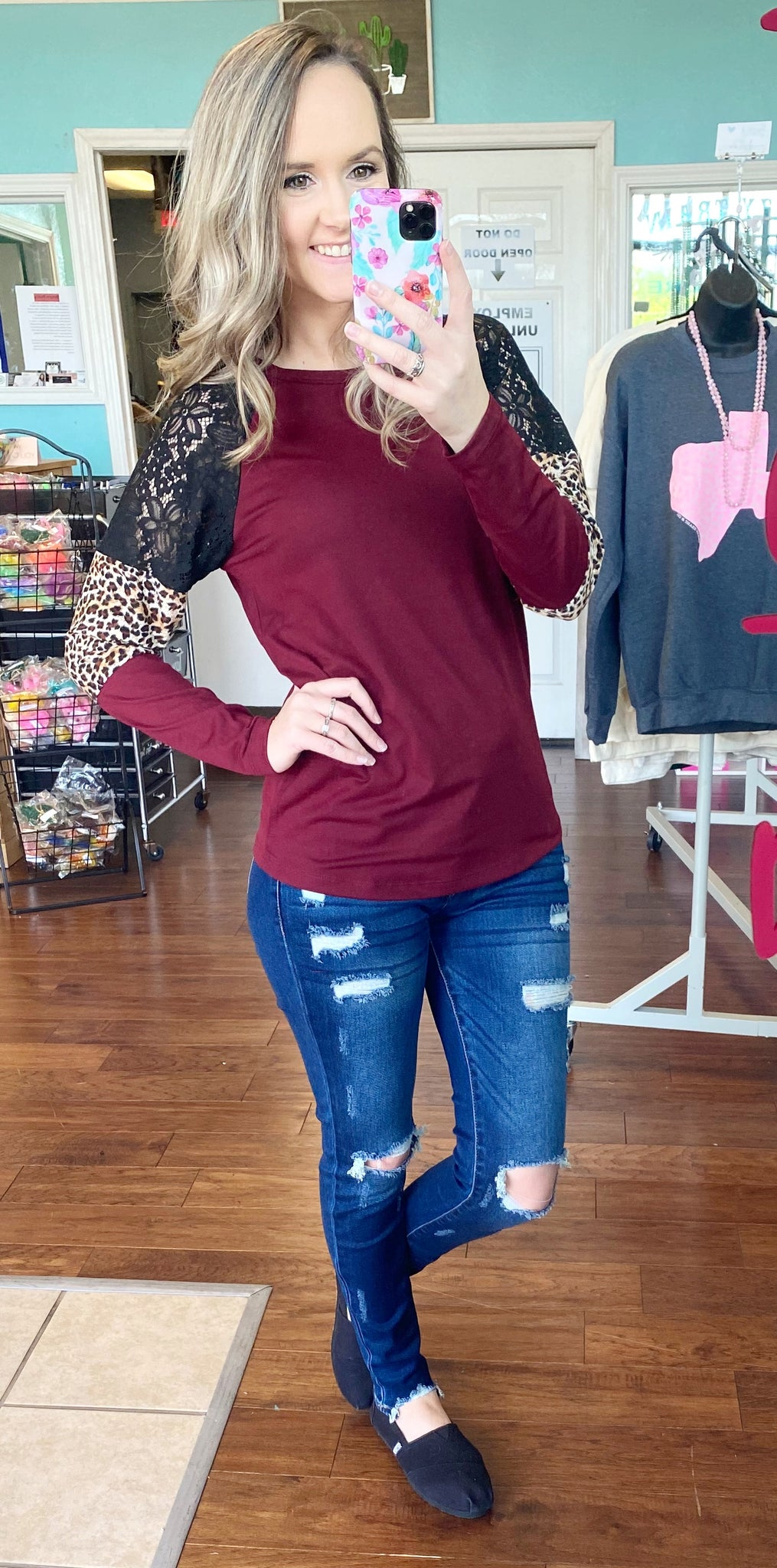 Maroon leopard & lace top