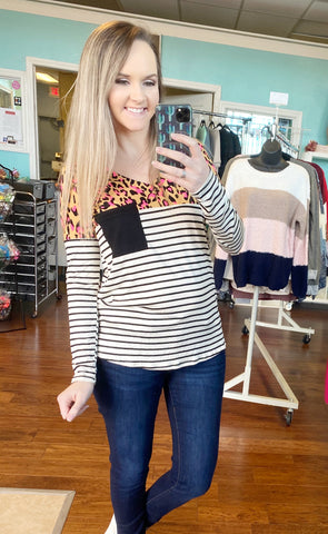 Neon leopard striped top