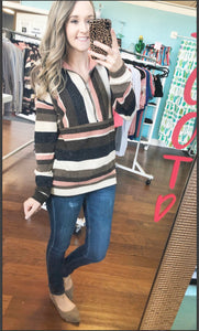 Pink striped pullover