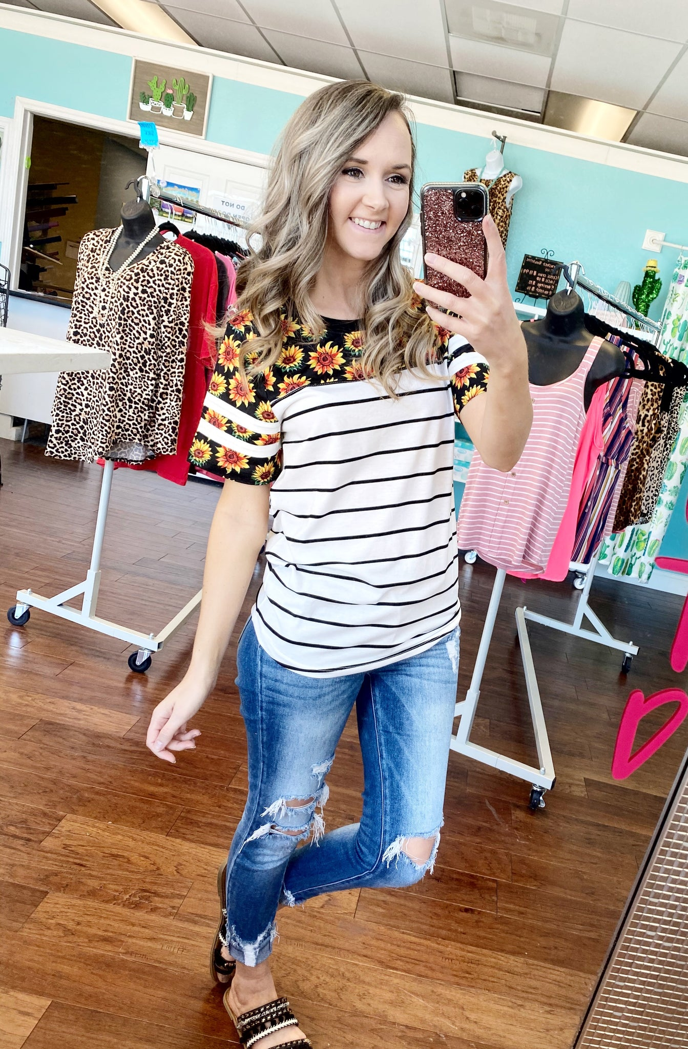 Sunflower and stripes top