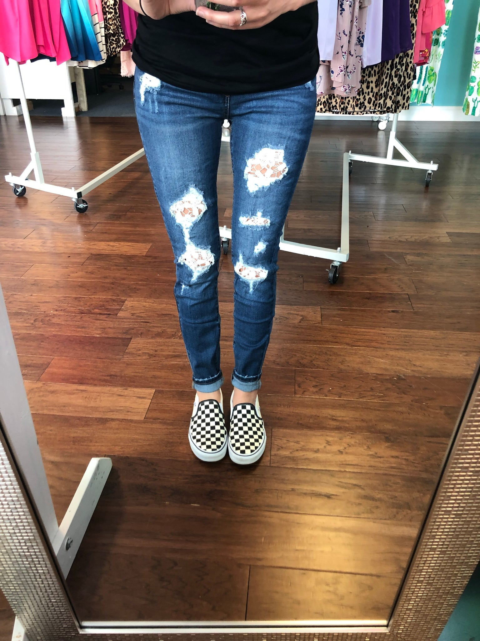 Judy blue lace patch jeans