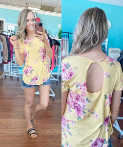 Yellow floral open back top