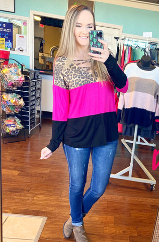 Pink & leopard color block top