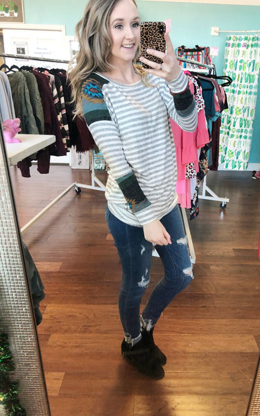 Grey striped Aztec top