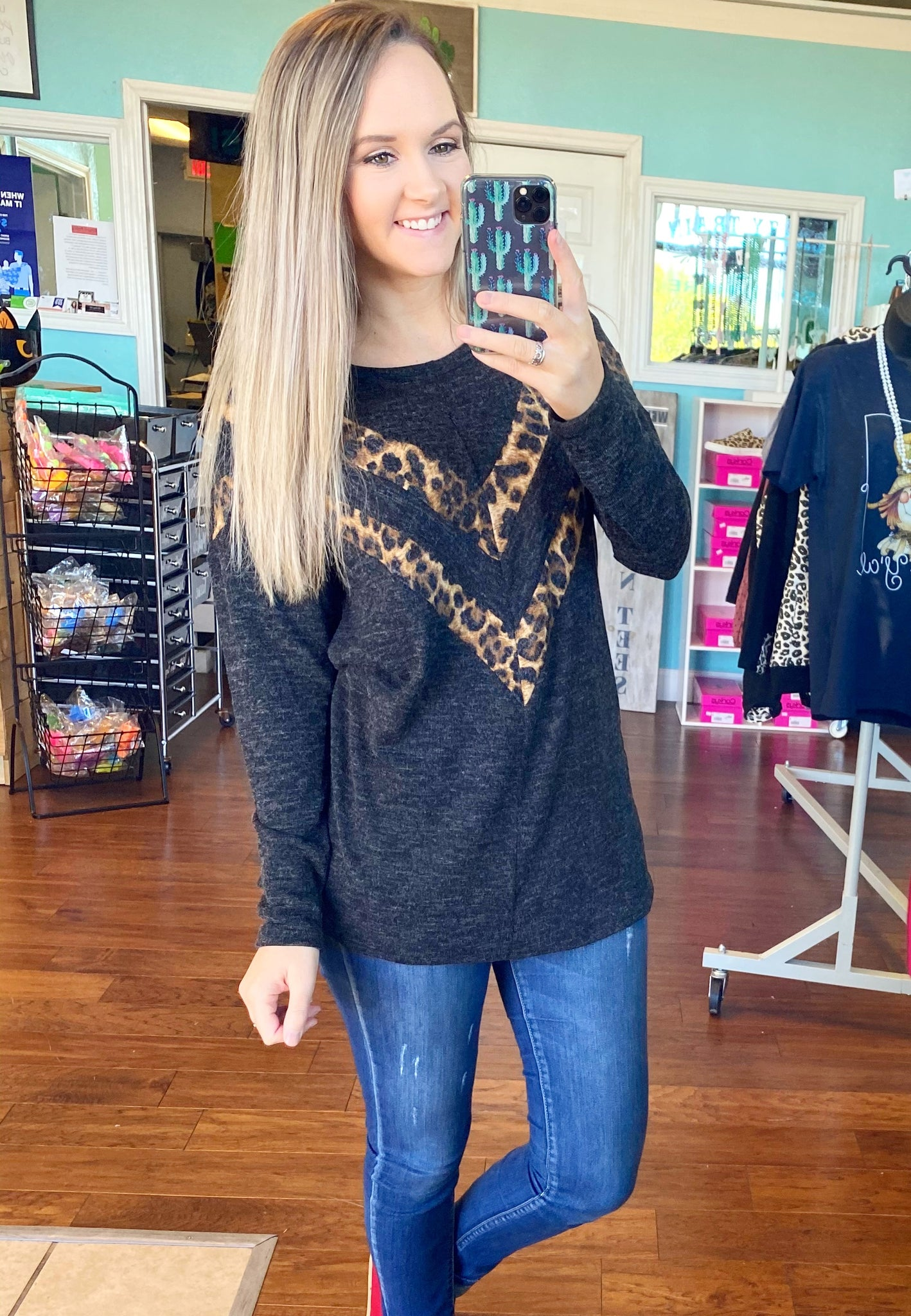Charcoal leopard chevron top