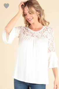 Ivory lace ruffle sleeve top