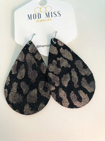 Black and silver leopard earrings