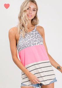 Leopard color block tank