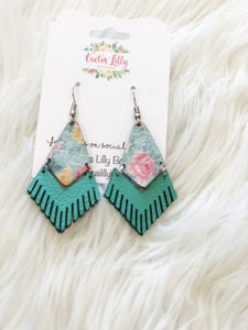 Floral turquoise earrings