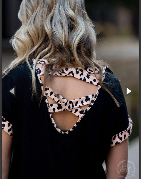 Black top with leopard accents