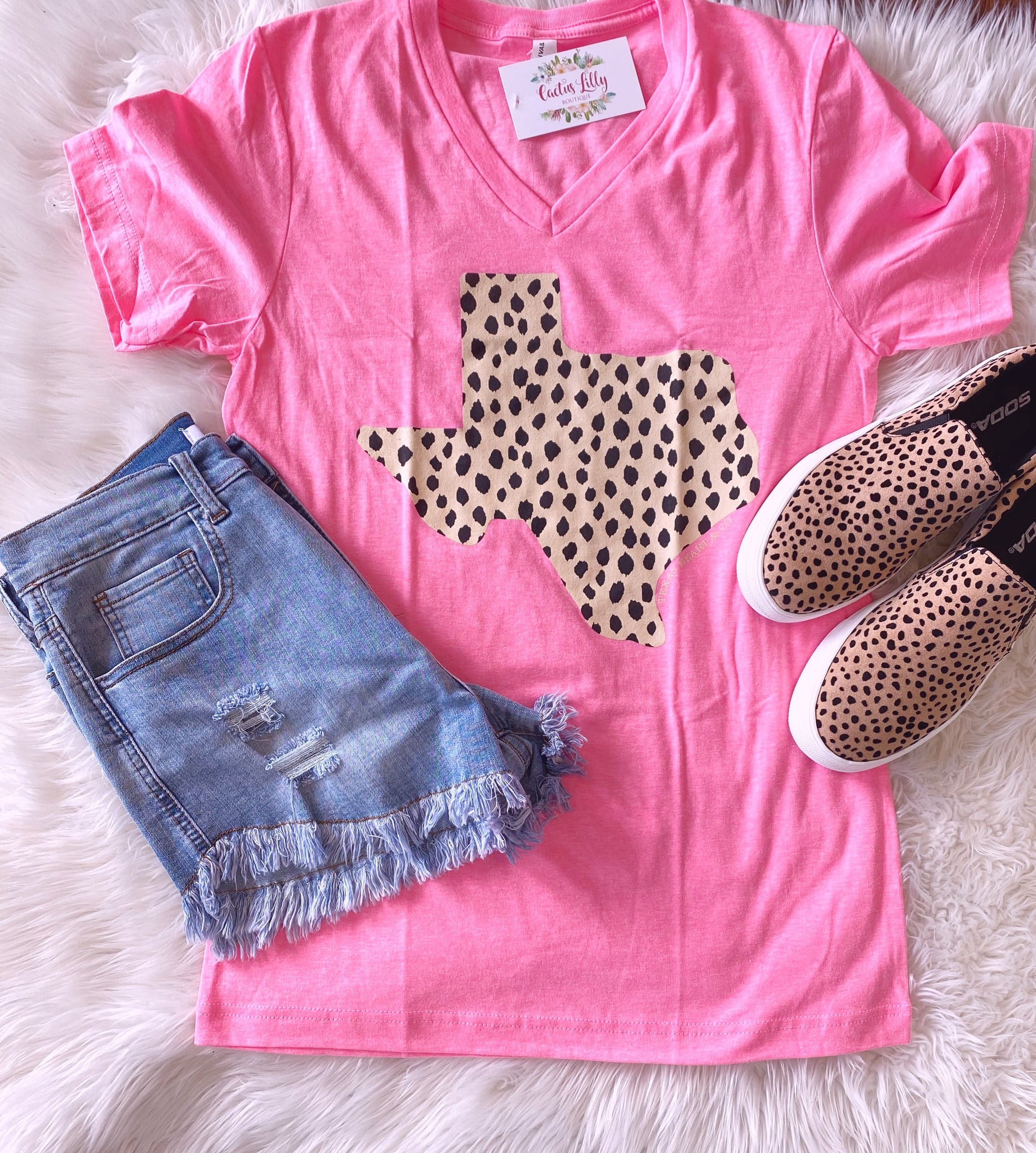 Pink spotted Texas T-shirt