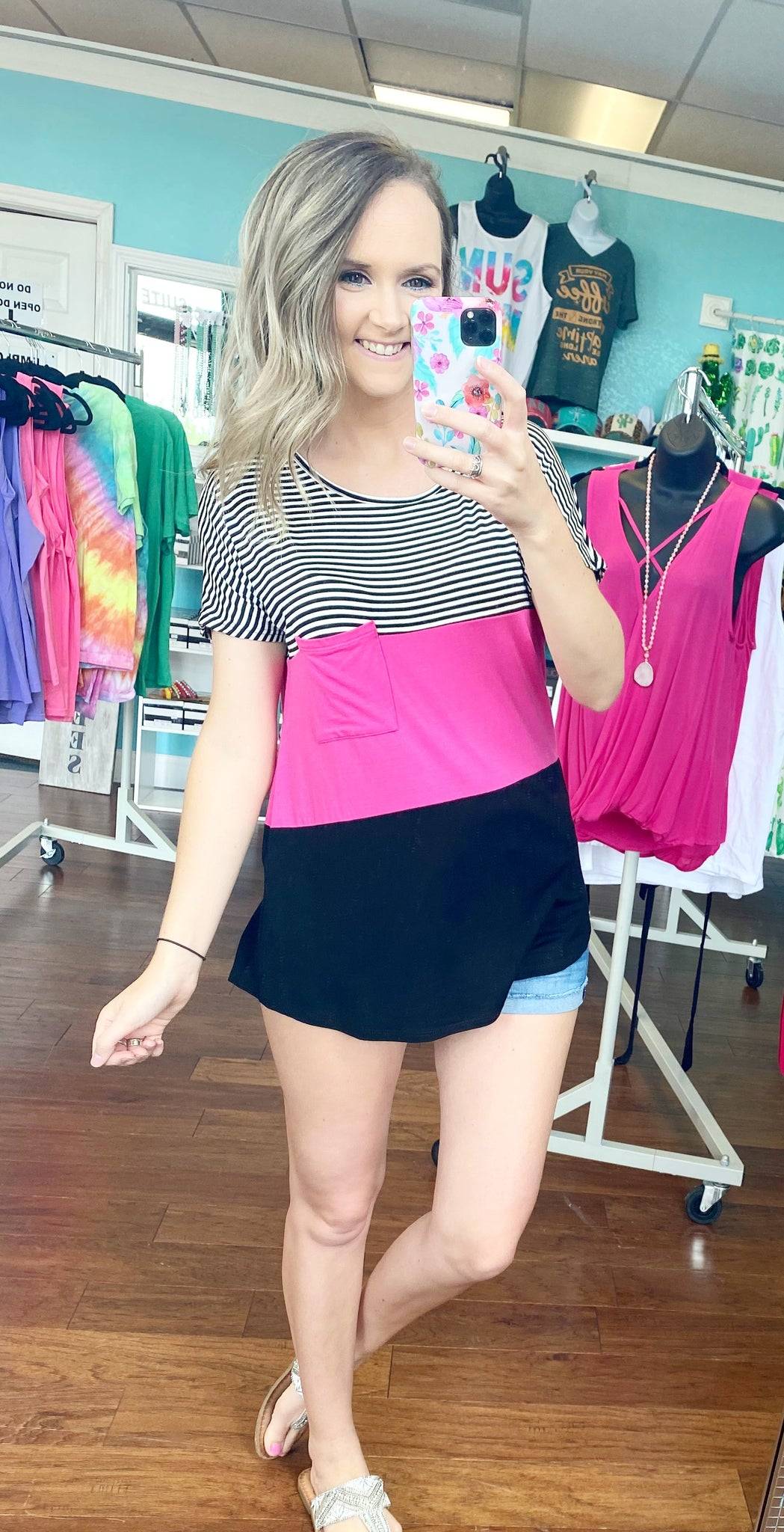 Fuchsia color block striped top