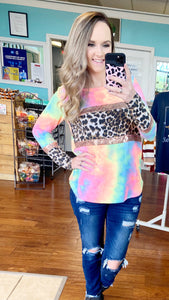 Tie dye & sequin top