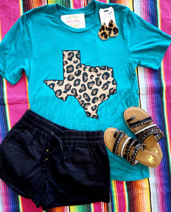 Teal leopard Texas T-shirt