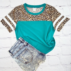 Leopard turquoise top