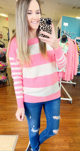 Bright Pink striped sweater