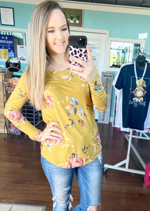 Mustard floral criss cross top