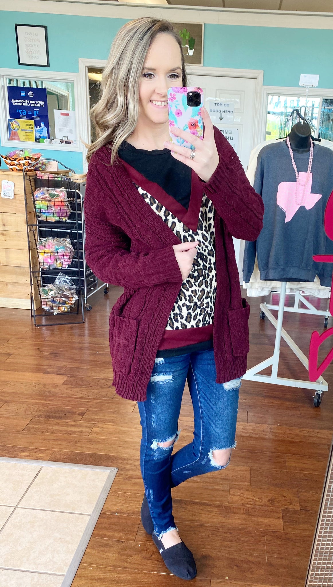 Wine knit cardigan