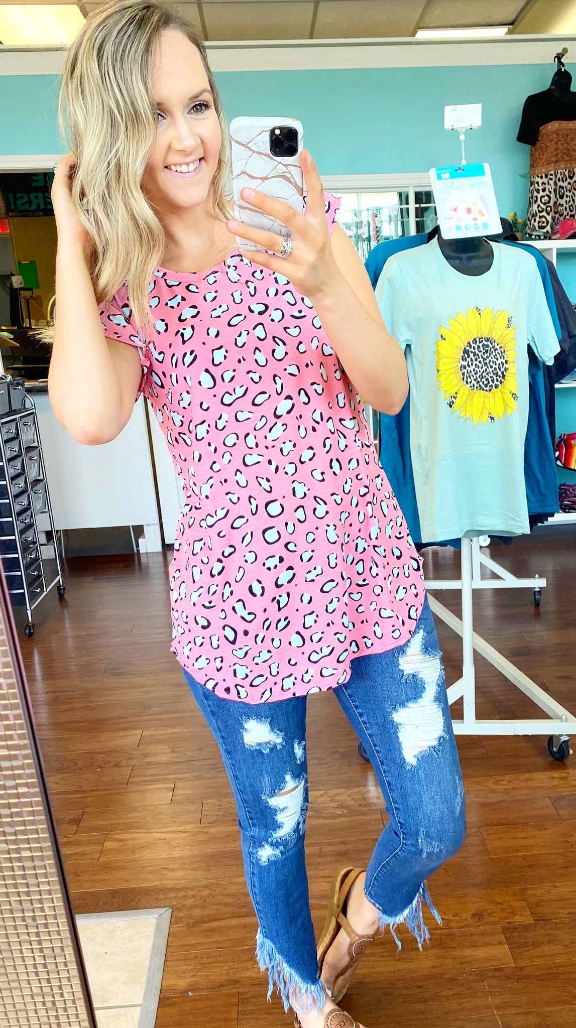 Pink and white leopard top