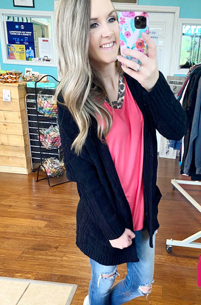 Black knit oversized cardigan