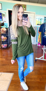 Olive leopard accent top