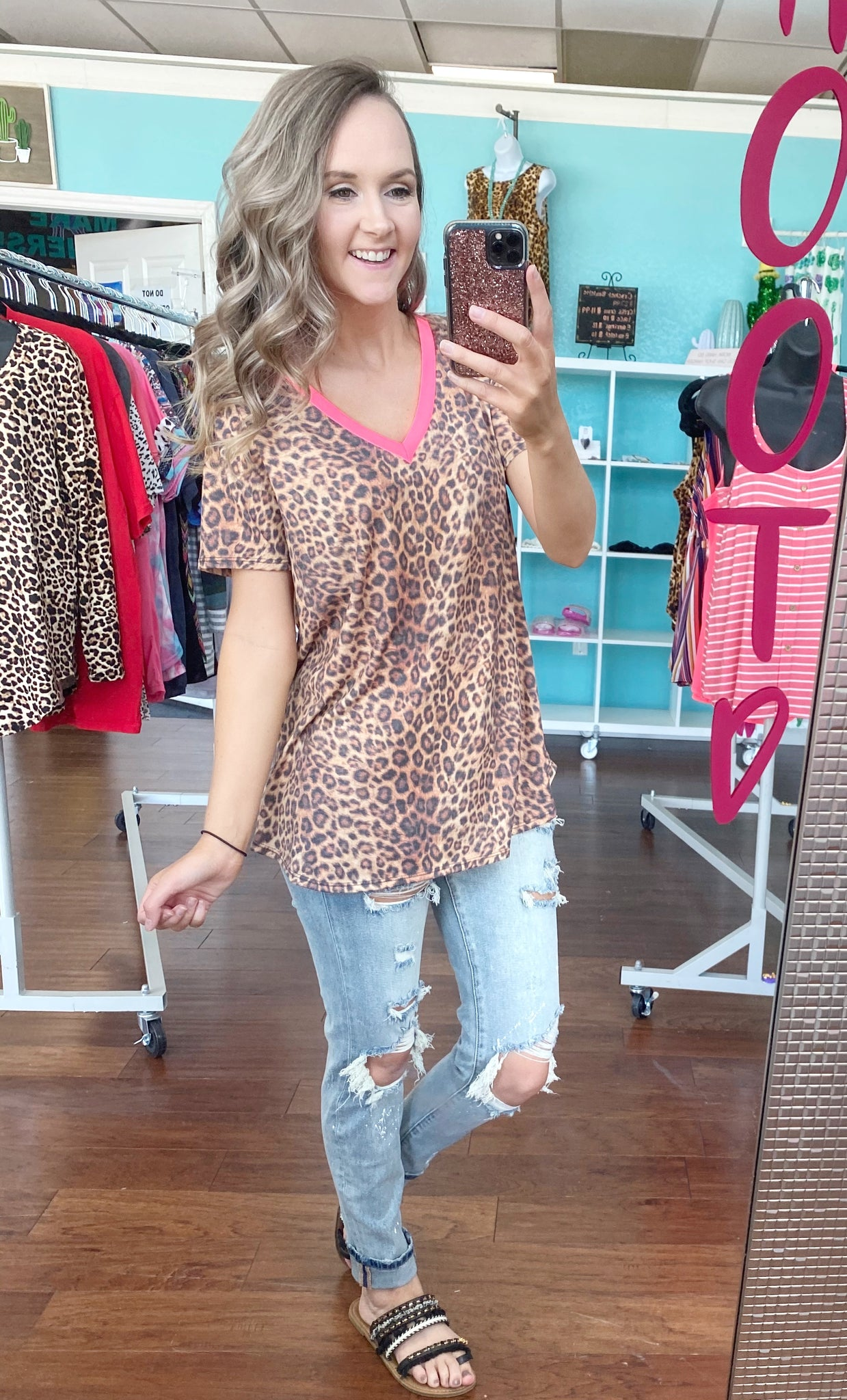 Leopard neon band top