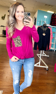 Magenta leopard pocket top