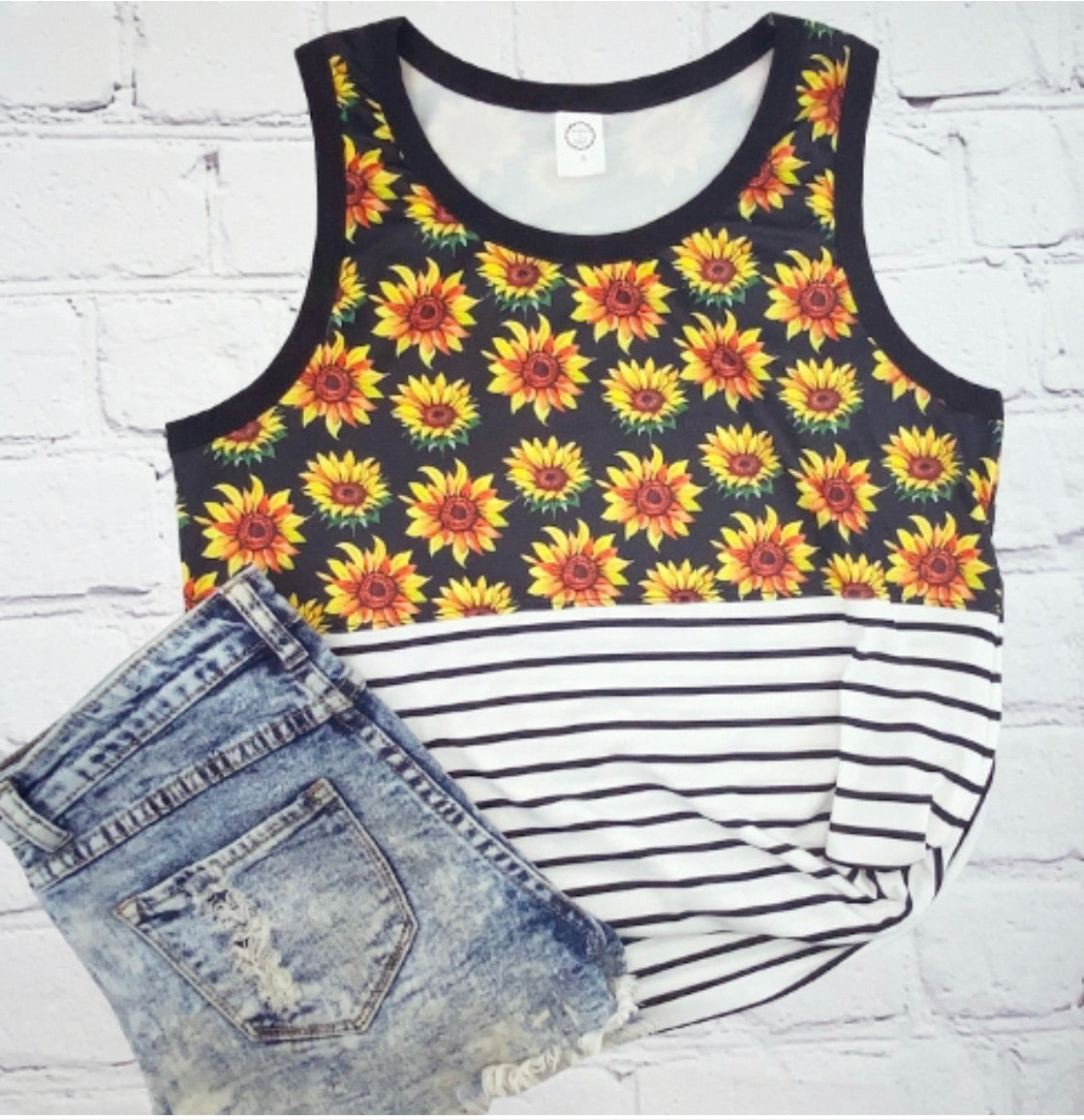 Sunflower and striped tank top