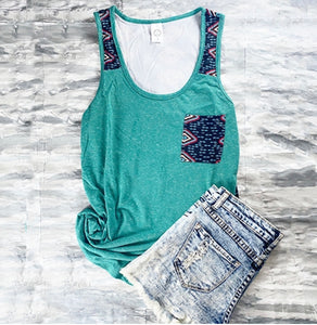 Teal Aztec and arrows tank top