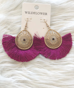 Burgundy fan tassel earrings
