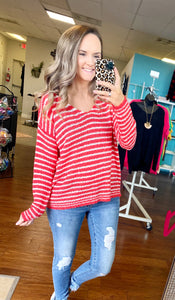 Coral striped sweater