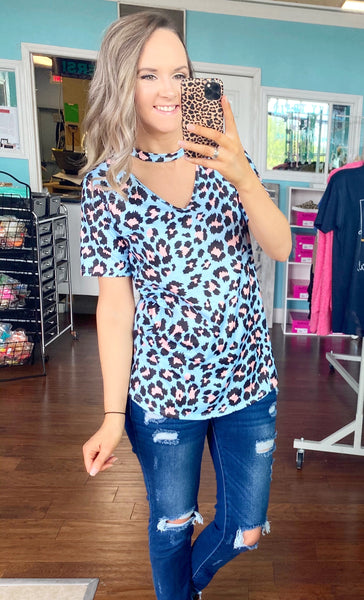 Baby blue leopard keyhole top