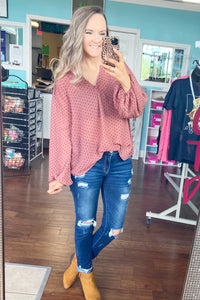 Dark mauve spotted top