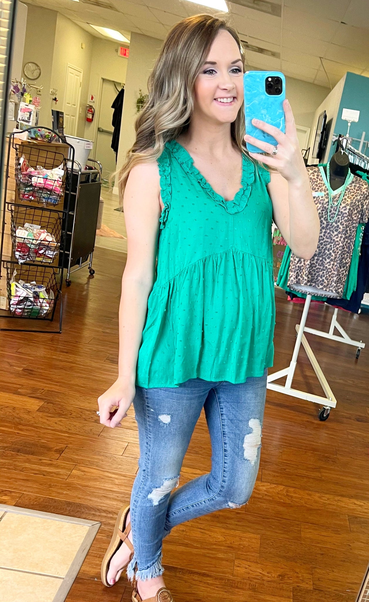 Kelly green baby doll tank top