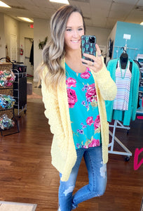 Yellow popcorn cardigan