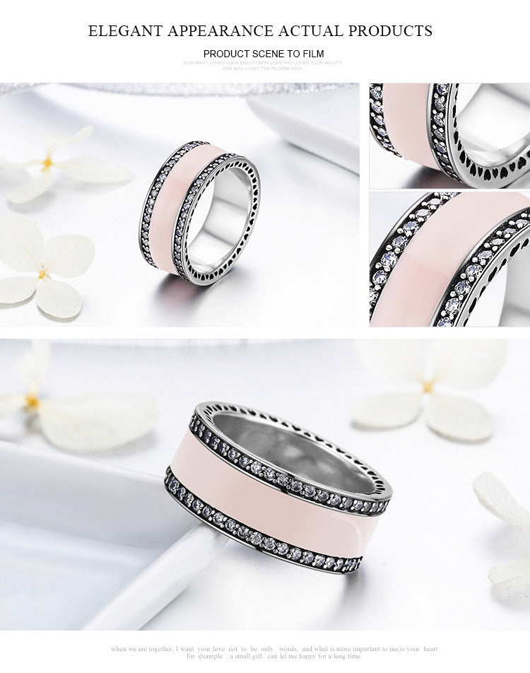 127084563 Radiant Hearts & Light Pink Enamel Clear CZ Wide Band Ring – Lovely ...