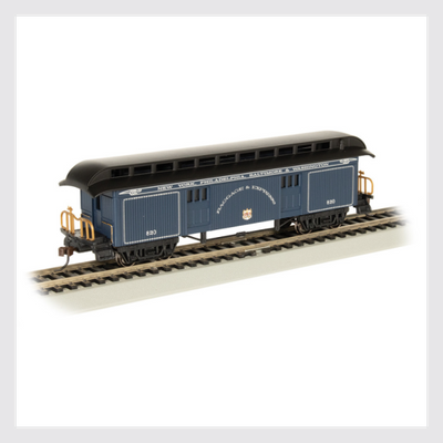 4372018102330 - Bachmann Ho 15305, 1860-1880 Era Baggage Car, Baltimore And Ohio (Royal Blue) - Rj's Trains