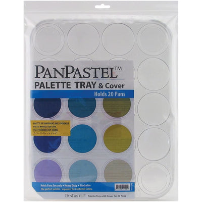 "Contains (1) 14 x 11.375 x 0.75""  Clear plastic palette tray with cover for holding (20) PanPastels PanPastels not included The perfect palettes & organizers for PanPastel Colors Hold pans securely  Each palette includes a cover Stackable"