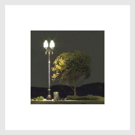Woodland Scenics JP5632 - Double Lamp Post Street Light (3 Pack) HO Scale