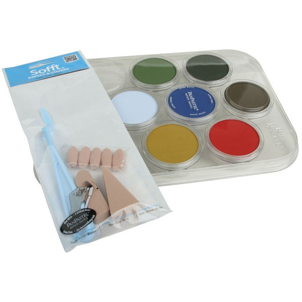 1x Palette Tray and cover 1x Sofft Painting Knife 5x Sofft Knife Covers 1x Sponge Bar 1x Angle Slice Sponge