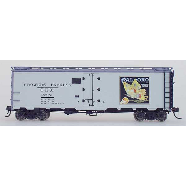 YesterYear Models, 51011-03, HO Scale, R-40-23 Refrigerator Car, Growers Express, Cal-Oro-Gray, #22981
