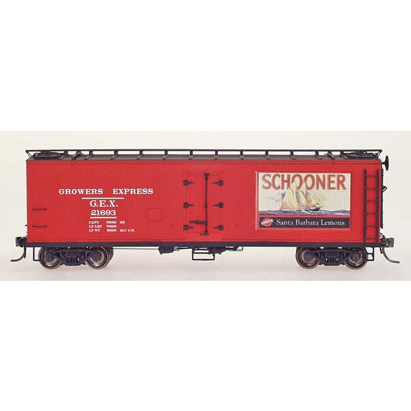 YesterYear Models: 51015-03, HO Scale, R-40-23 Refrigerator Car, Growers Express, Schooner-Red, #21693