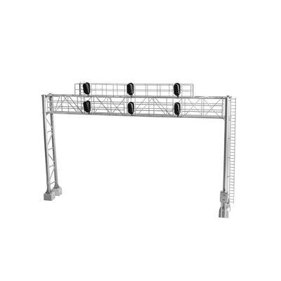 "Modern Triple-Track Signal Bridge with 6 LED 3-Aspect Heads - Assembled -- 8-9/16"" 21.7cm Leg Spacing"