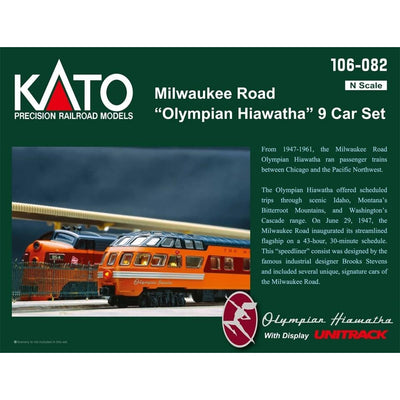 Kato, N Scale, 106082, Olympian (Hiawatha) 9-Car Passenger Set, Milwaukee Road (Post-1952 Version)