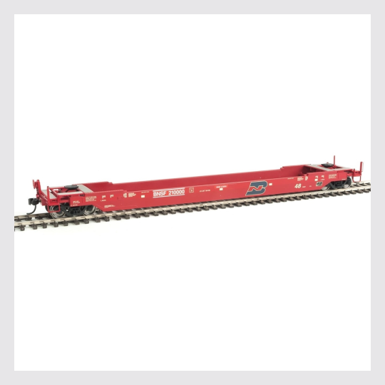 1449167585303 - Walther's Proto Ho 920-109201 Gunderson As-Built All-Purpose 48' Well Car Burlington Northern & Santa Fe #210000 (Renumbered Ex-Bn; Red, Blue) - Rj's Trains