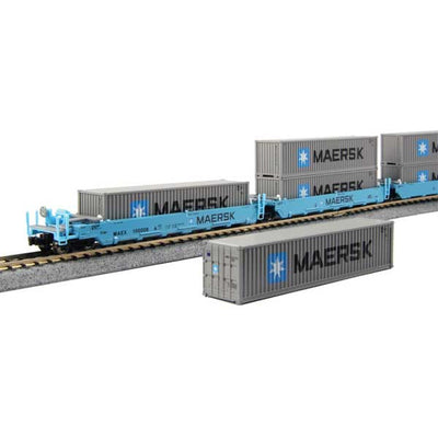 Kato, N Scale 1066198, Gunderson MAXI-I Double Stack Well Cars, Maersk #100029