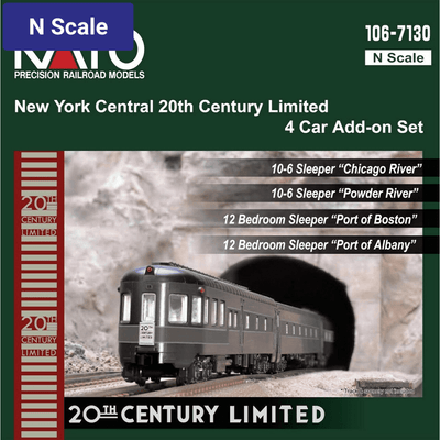 Kato, N Scale, 106-7130, 20th Century Limited, Add-On Passenger Car Set, New York Central 4 Car Set