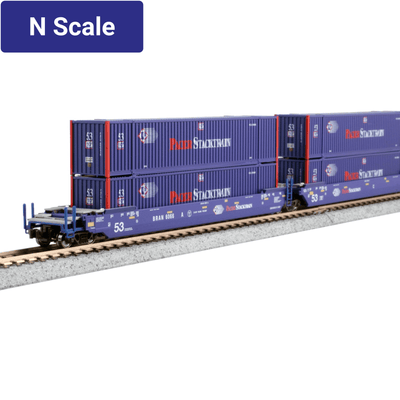 Kato, N Scale 1066179, MAXI-IV 53' Stack Cars, with Pacer Stacktrain Containers, Pacer, #6020, (3-Pack)