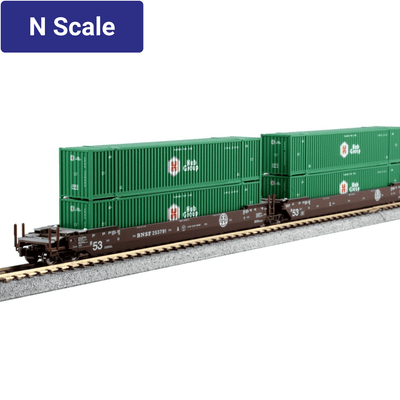 Kato, N Scale, 1066177, MAXI-IV 53' Stack Cars, with HUB Containers Containers, BNSF, #253791, (3-Pack)